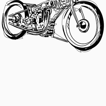 Motorcycle Line Drawing by GASOLINESK00T