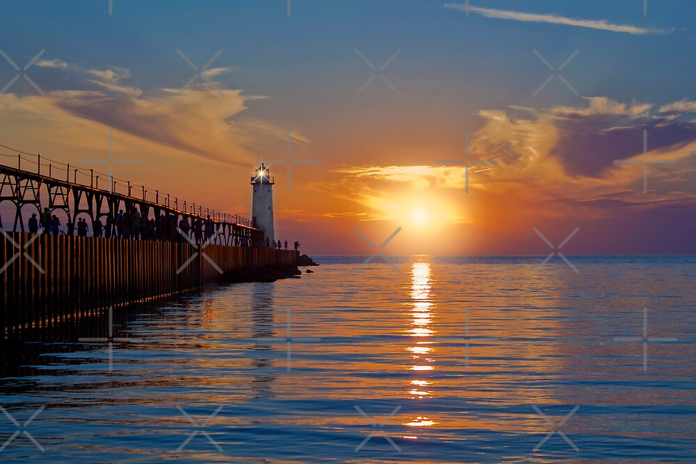 Manistee North Pierhead Lighthouse at Sunset by Megan Noble