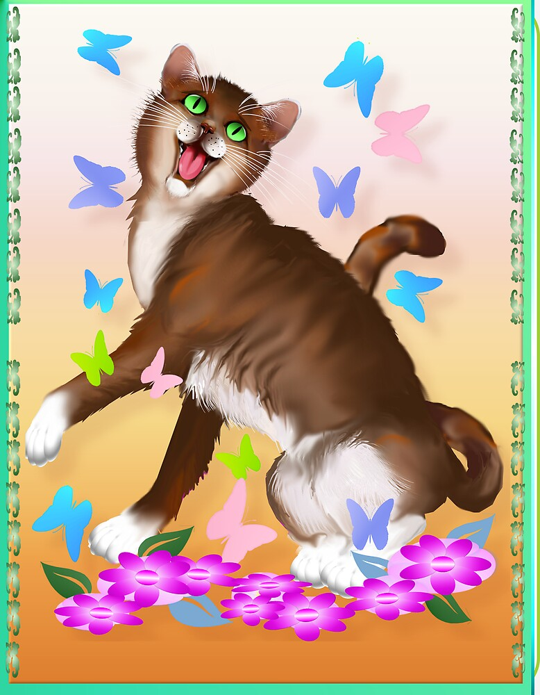 Happy Orange Cat and Soft Butterflies by Lotacats
