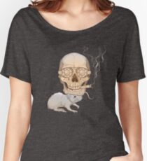 a skull with fuming cigar and a rat Women's Relaxed Fit T-Shirt