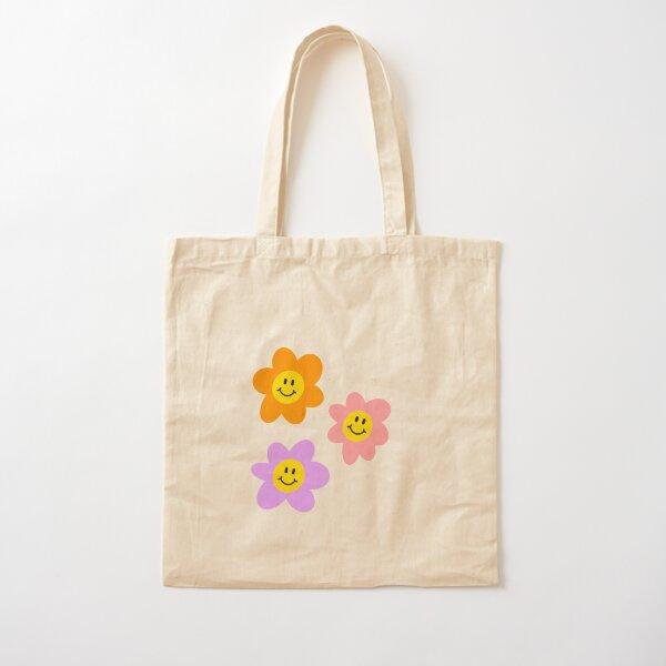 vintage smiley flowers Cotton Tote Bag