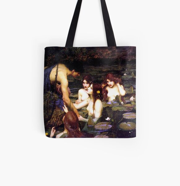Hylas and the Nymphs - John William Waterhouse  All Over Print Tote Bag
