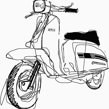 LAMBRETTA CUSTOM LINE ART DRAWING FOR GP200 by GASOLINESK00T