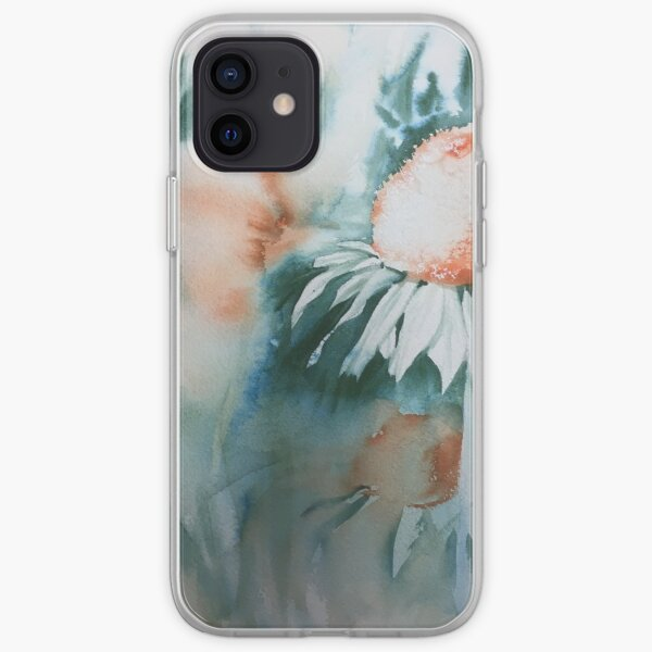 Echinacea watercolour with the richness of orange and cascade green iPhone Soft Case