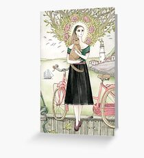 Girl and a cat with pink bicycle Greeting Card