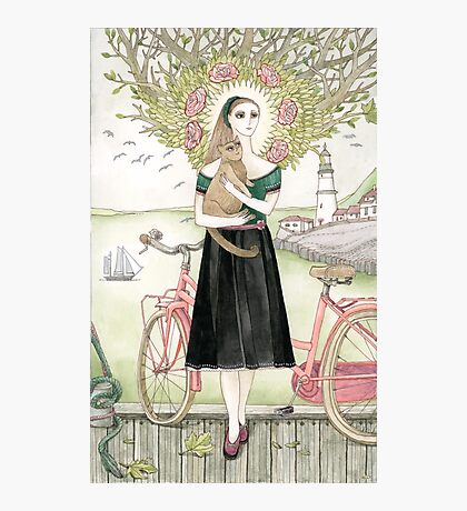 Girl and a cat with pink bicycle Photographic Print