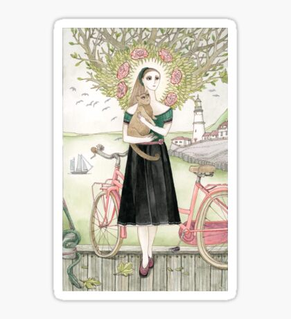 Girl and a cat with pink bicycle Sticker
