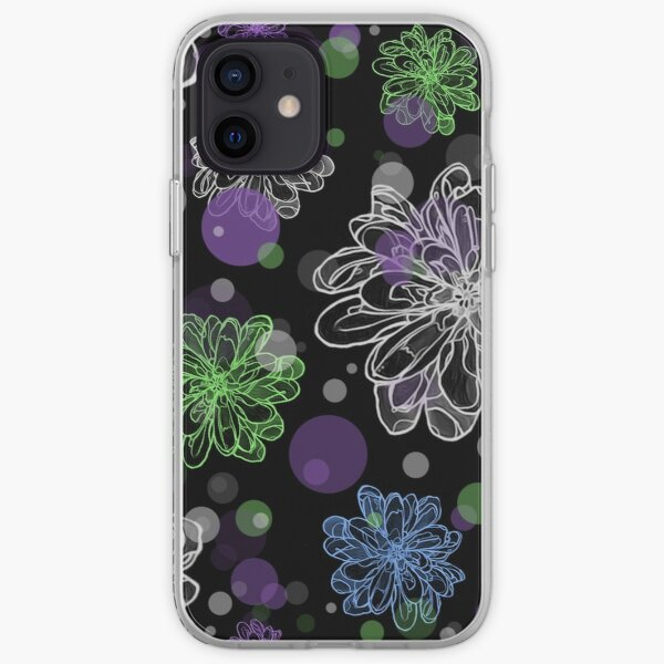 Funky Flowers and Dots Purple Green and white graphic design pattern iPhone Soft Case