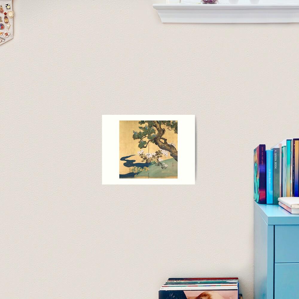 Paulownias and Chrysanthemums 桐菊流水図屏風  Art Print