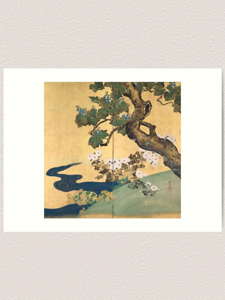 Alternate view of Paulownias and Chrysanthemums 桐菊流水図屏風  Art Print