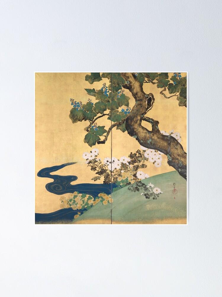 Alternate view of Paulownias and Chrysanthemums 桐菊流水図屏風  Poster