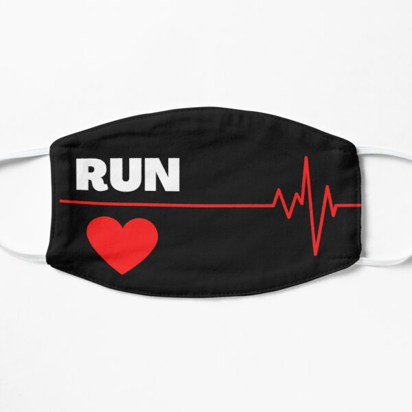 Love Run Red Heart and Heartbeat Flat Mask