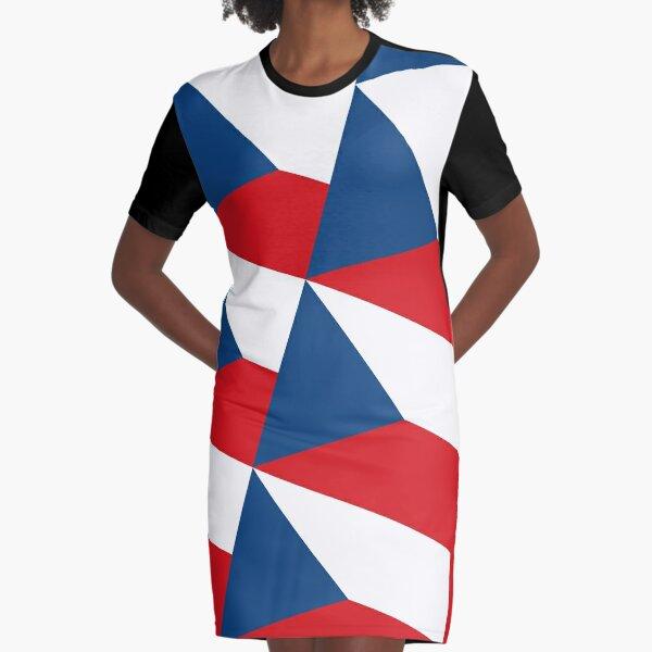 Czehia  Flag Pattern Graphic T-Shirt Dress