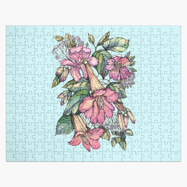 Red Trumpet Vine flowers on blue Jigsaw Puzzle