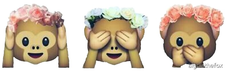 Quot Monkey See No Evil Hipster Flower Crown Emoji Quot Stickers