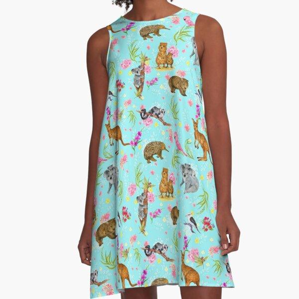 Australian Fauna & Flora (Blue) A-Line Dress