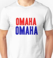 OMAHA OMAHA! (blue and red) Unisex T-Shirt