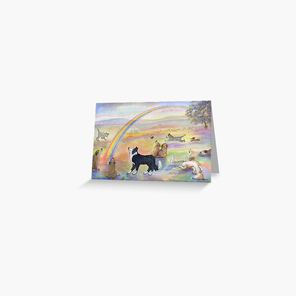 Dogs wait for their humans at Rainbow Bridge Greeting Card
