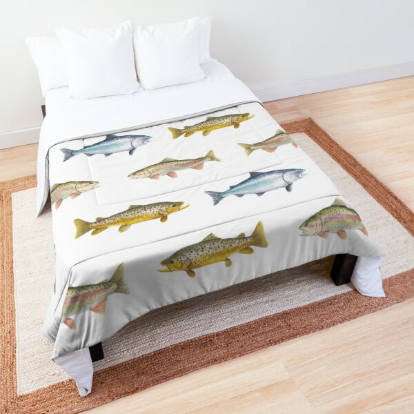 Trout and Salmon Pattern: Rainbow, Brown Trout, Chinook Salmon Comforter