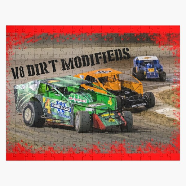 V8 Dirt Modifieds in action Jigsaw Puzzle
