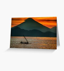 Sunset Over Bali's Mt Agung Greeting Card