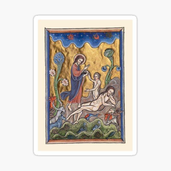 Creation of Man Adam and Eve - Illuminated Manuscript Sticker