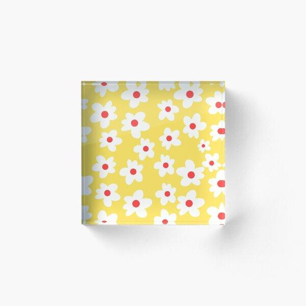 White Flowers on Yellow Background Acrylic Block