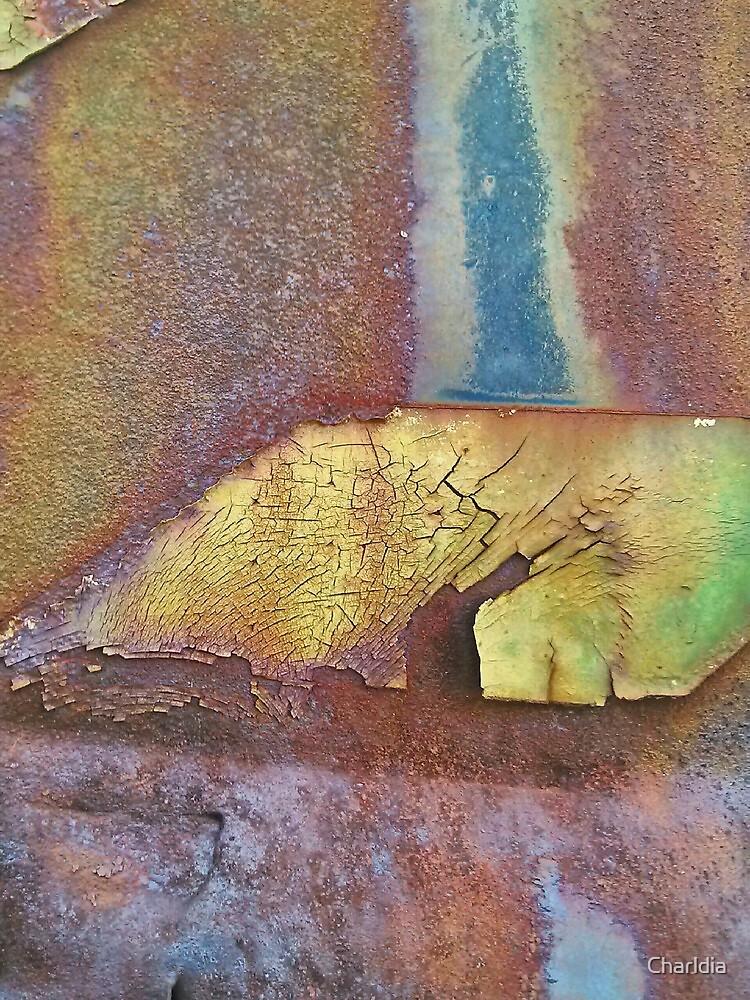 Rusty Metal Plate Under A Railroad Trestle by Charldia