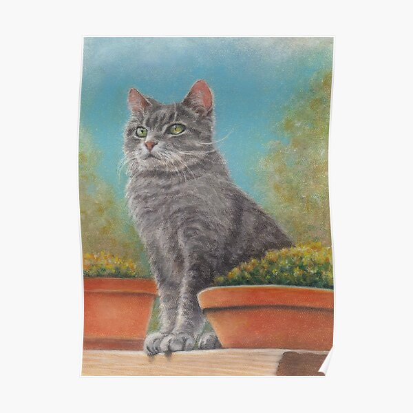 Cat with flower pots Poster
