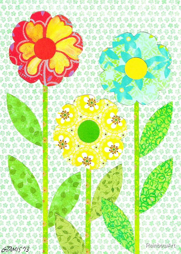 THREE DECOUPAGE FLOWERS by RainbowArt