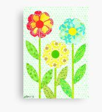THREE DECOUPAGE FLOWERS Canvas Print