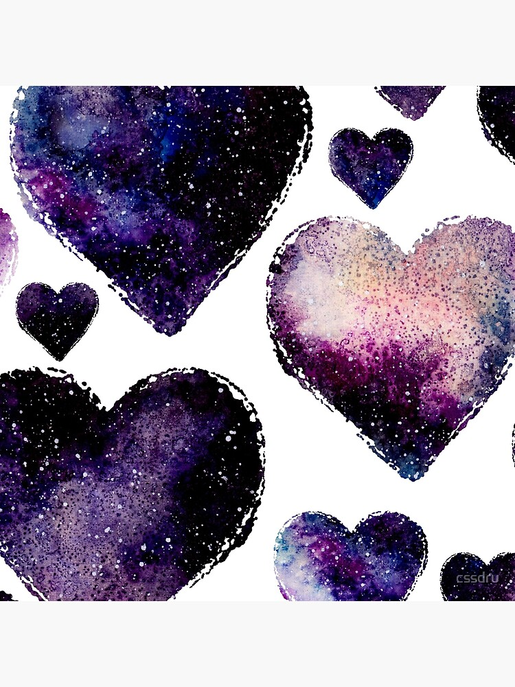 Galaxy Watercolor Abstract Hearts Pattern by cssdru