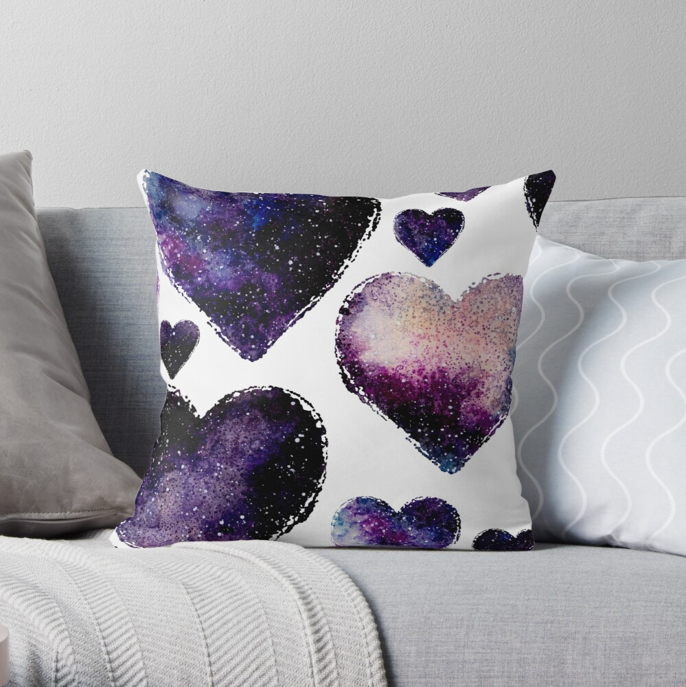 Galaxy Watercolor Abstract Hearts Pattern Throw Pillow