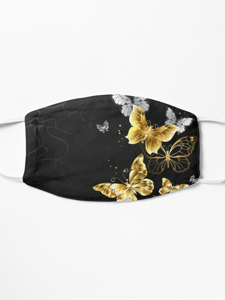 Alternate view of Gold and White Butterflies Mask