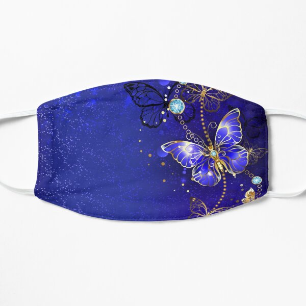 Blue Background with Sapphire Butterfly Flat Mask