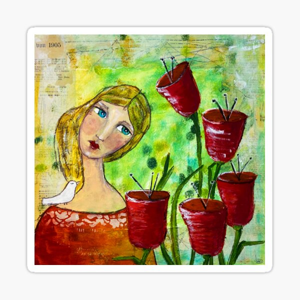Girl with red flowers Sticker