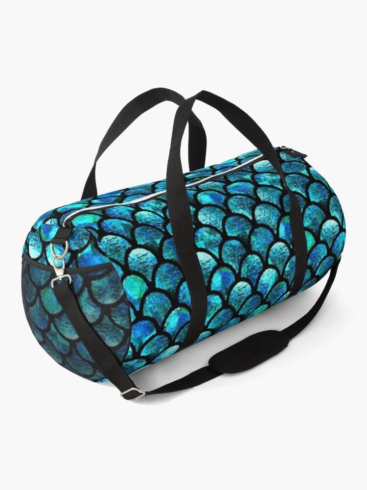 Alternate view of Mermaid Scales - Turquoise Blue Duffle Bag