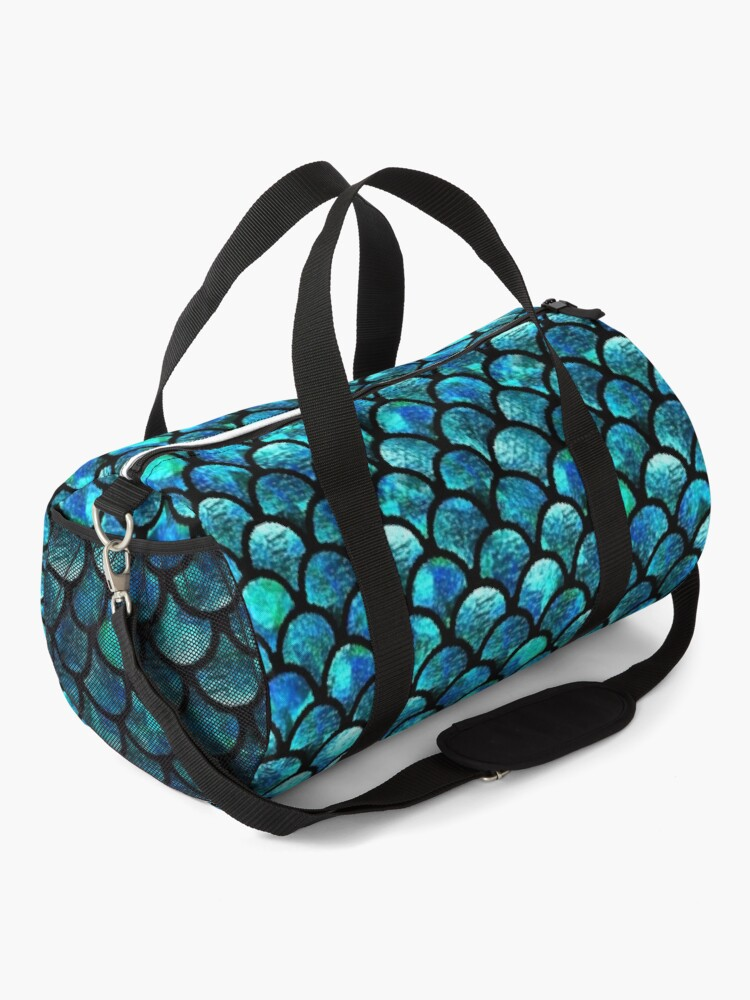 Alternate view of Mermaid Scales - Turquoise Blue Duffle Bag