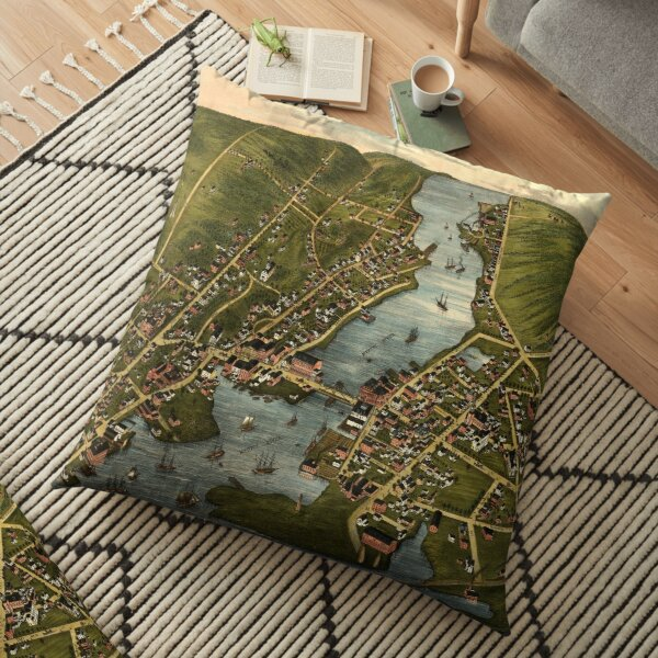 Vintage Mystic CT River & Bridge Map (1879) Floor Pillow