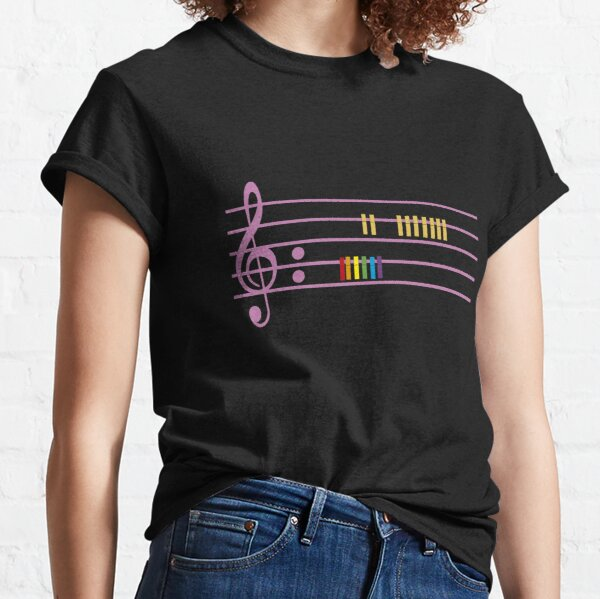 Pentagrama Musical Arcoíris Camiseta clásica