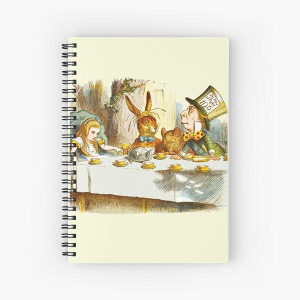 Vintage Alice im Wunderland-Teeparty mit dem verrückten Hutmacher, dem Kaninchen und der Tür-Maus Spiralblock