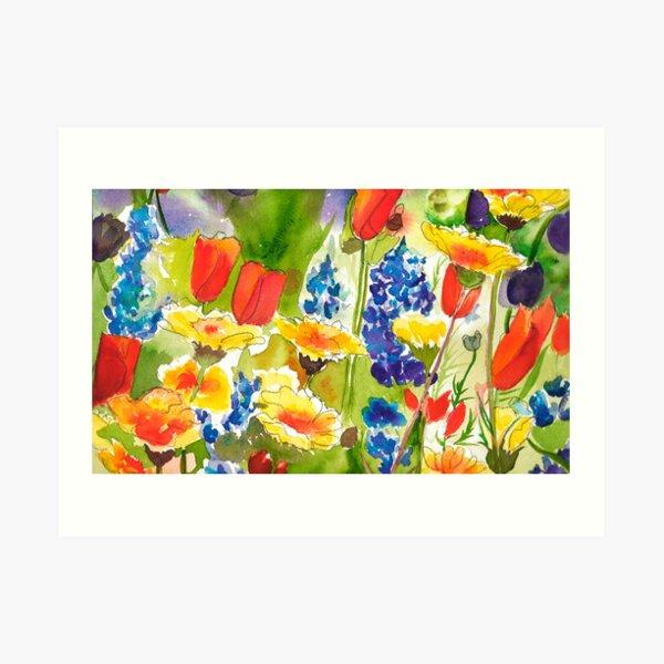 Lupine and California Poppies Art Print