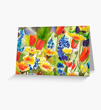 Lupine and California Poppies Greeting Card