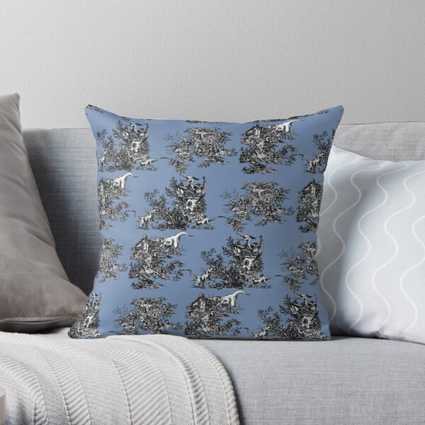 Jurassic Toile Blue Throw Pillow