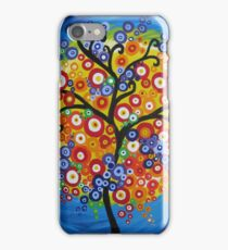 rainbow tree with circle leaves and bright colours - phone iPhone Case/Skin