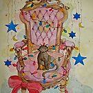 Christmas Cat on Victorian Chair by dkatiepowellart