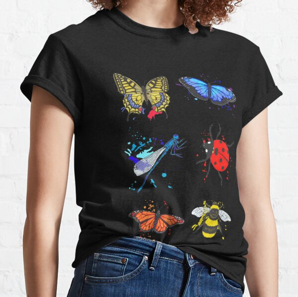 Winged Insects Bees Butterflies Ladybirds Dragonflies Classic T-Shirt