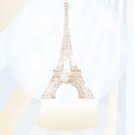 Retro poster with Eiffel-tower inside a snowglobe by schtroumpf2510