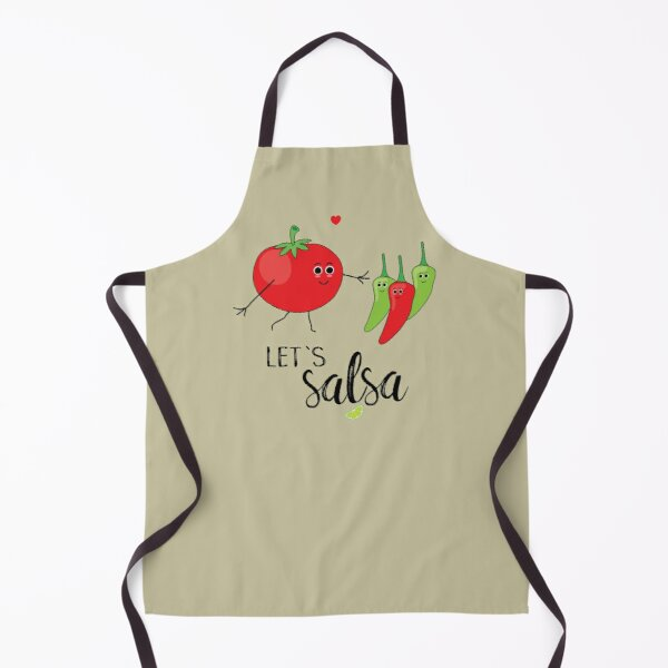 Let's Salsa Cute Cartoon Tomato and Chillies Apron