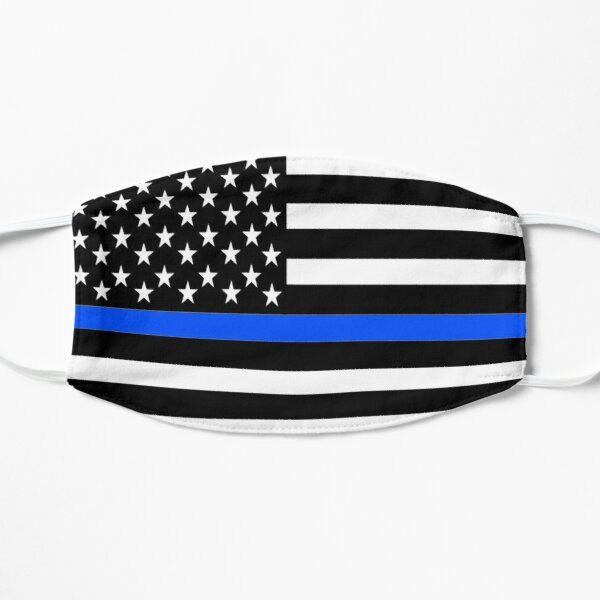 Thin Blue Line Lives Matter Police American America USA Flag Face Mask Cover Pattern Patriotic Law Officer Enforcement July 4th 4 Stars Stripes K9 K-9 Honor United First Responder Cop Gift Mask